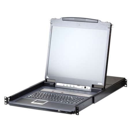 Aten CL5708IN-ATA 8-Port PS2-USB VGA 19-inch LCD KVM over IP Switch with Daisy-Chain Port and USB Peripheral Support